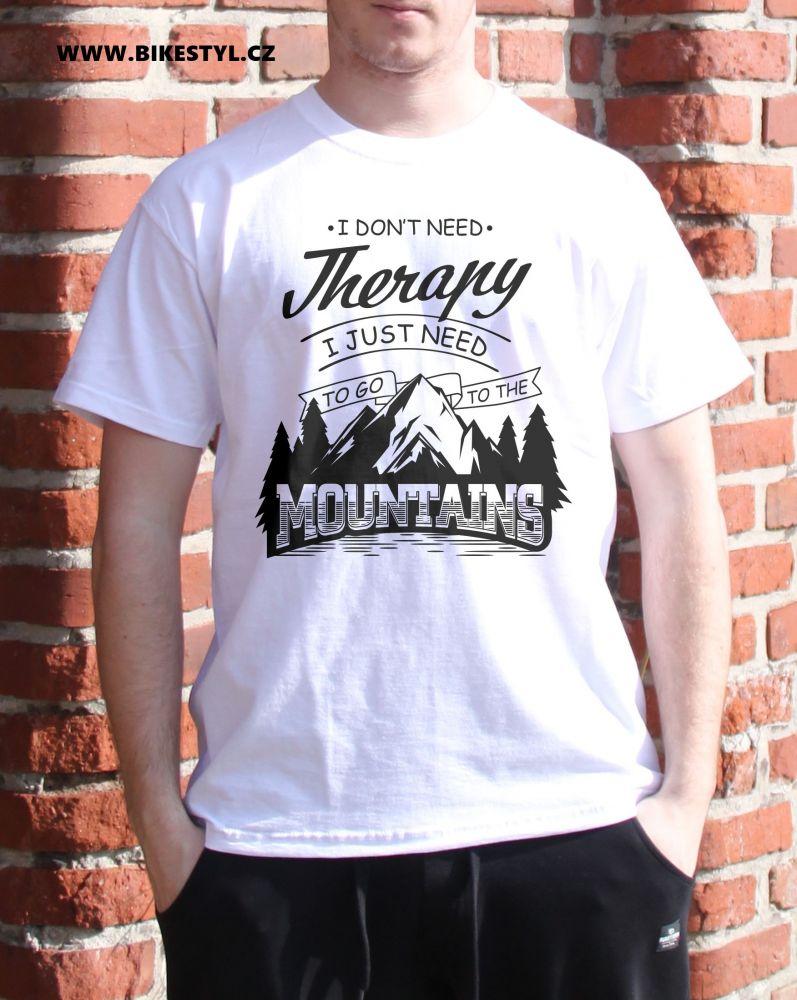 pánské triko Mountains Therapy white bikestyl