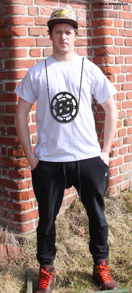 pánské tričko Bike Style bikestyl grey