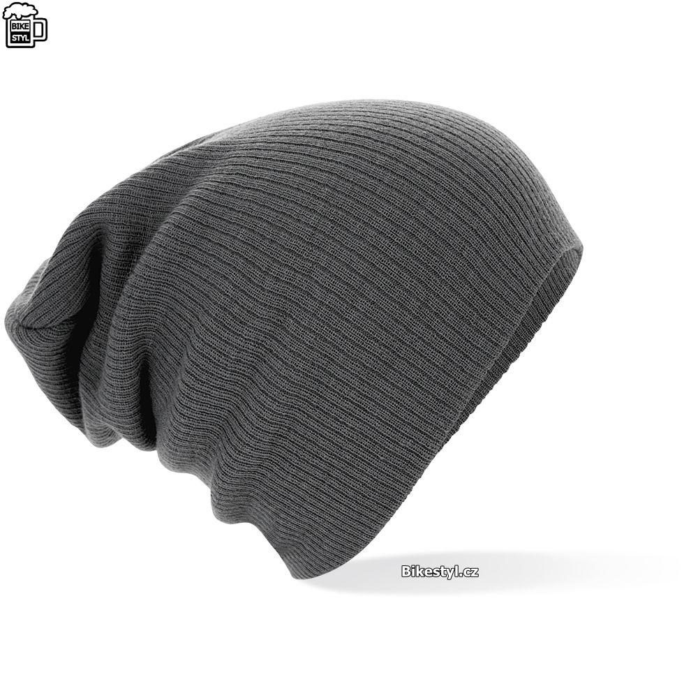 Zimní pletená čepice unisex šedá