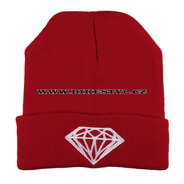 5147912a32d Diamond zimní pletena čepice červená