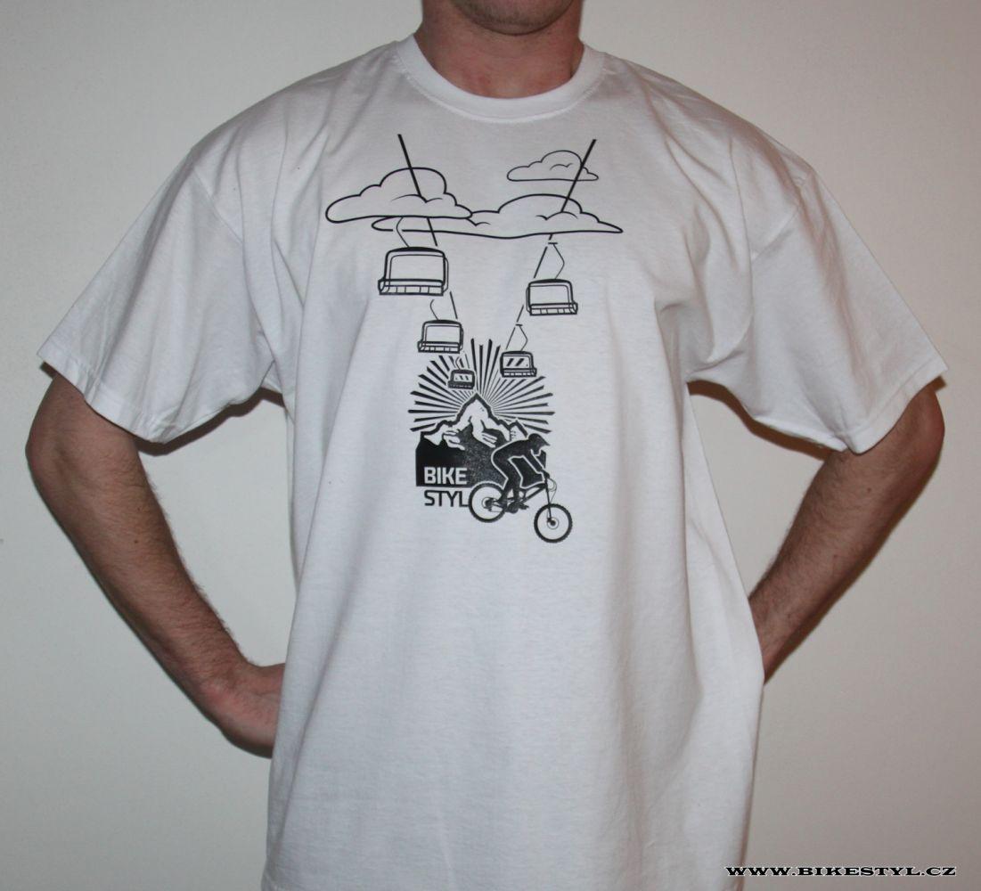 pánské triko Mountain Cableway bílé bikestyl