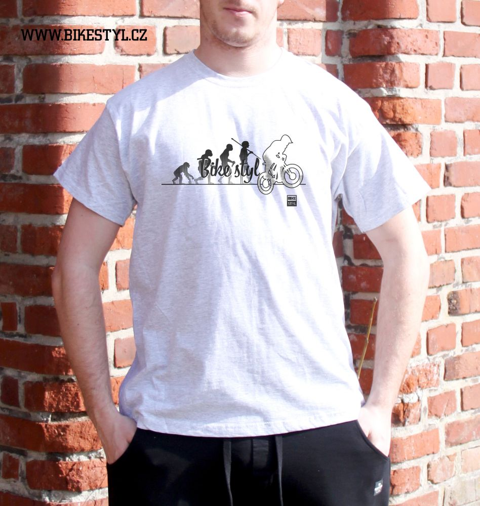 pánské tričko Bike Evolution bikestyl light grey