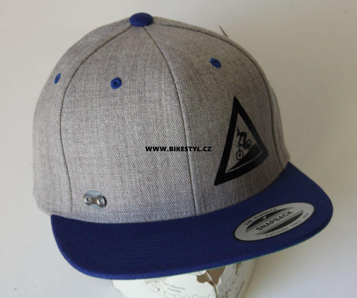 Kšiltovka Utrženej Ze řetězU Classics Snapback grey-blue Bikestyl