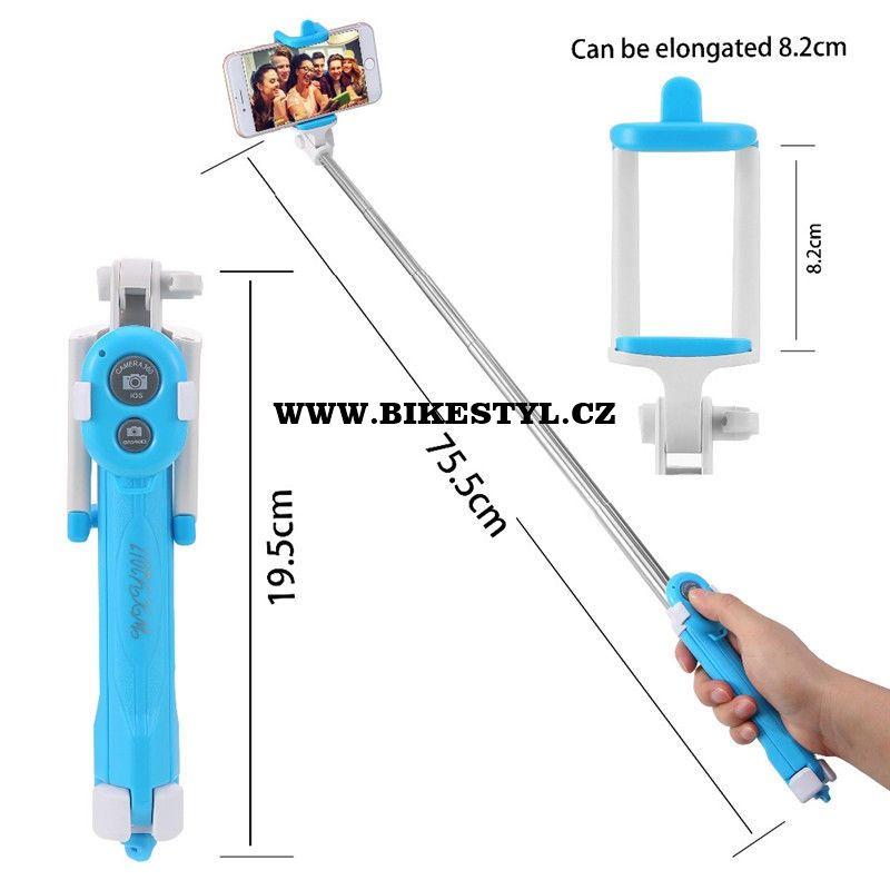 Selfie Tyč-Stativ s bluetooth ovladačem blue