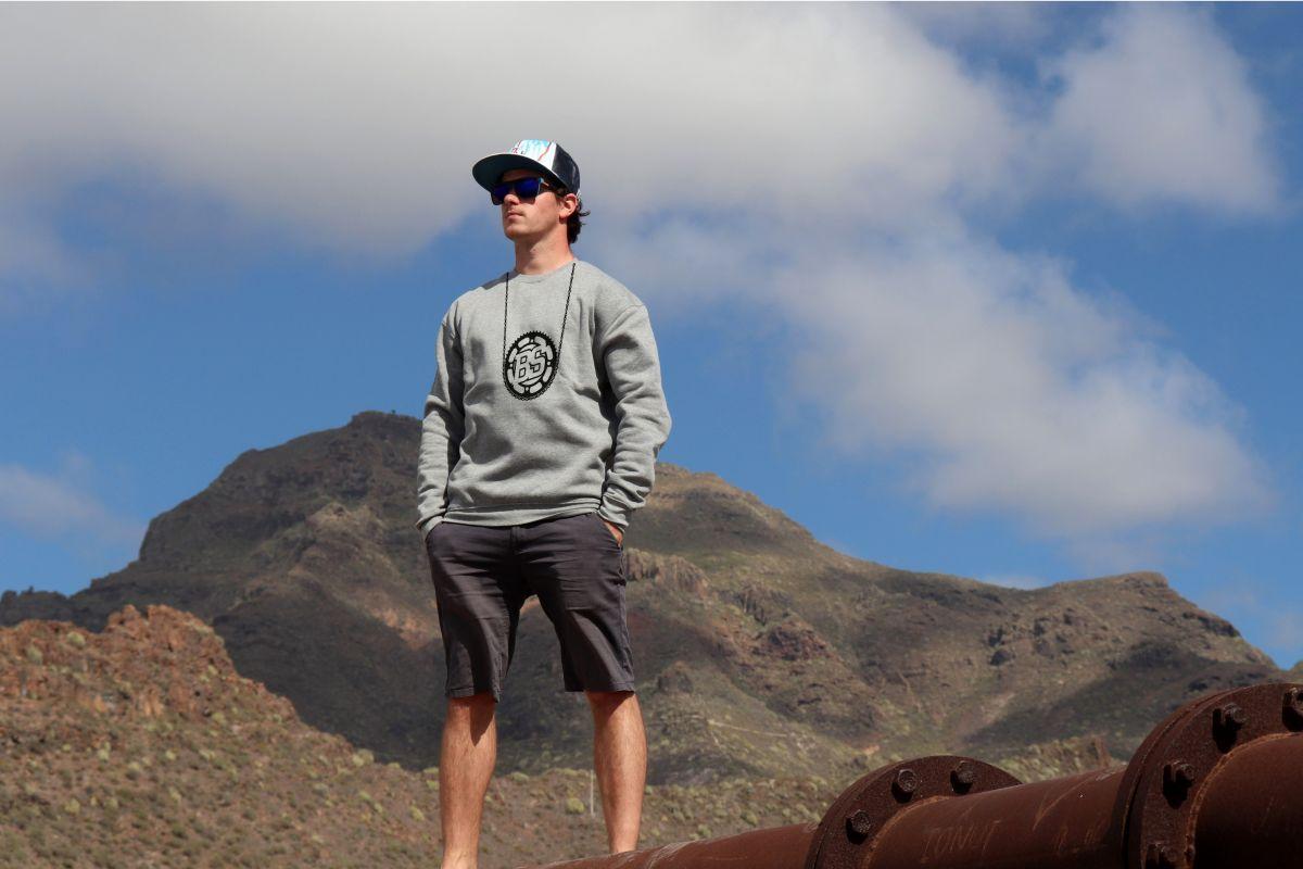 mikina Bike Style unisex grey hoodie