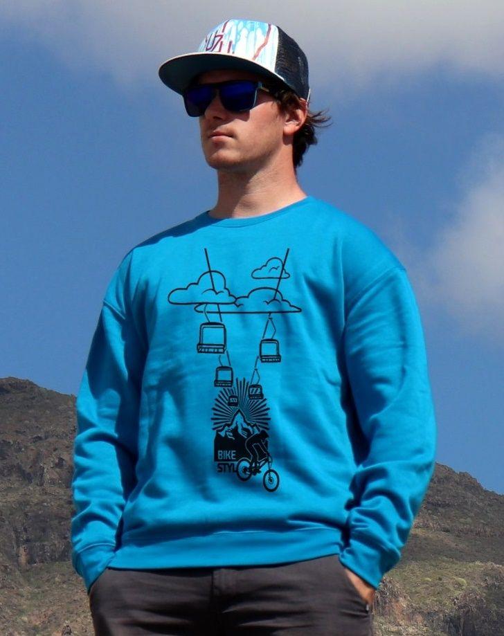 mikina Bikepark unisex blue hoodie