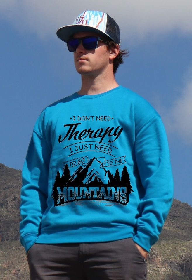 mikina Mountains therapy unisex blue hoodie