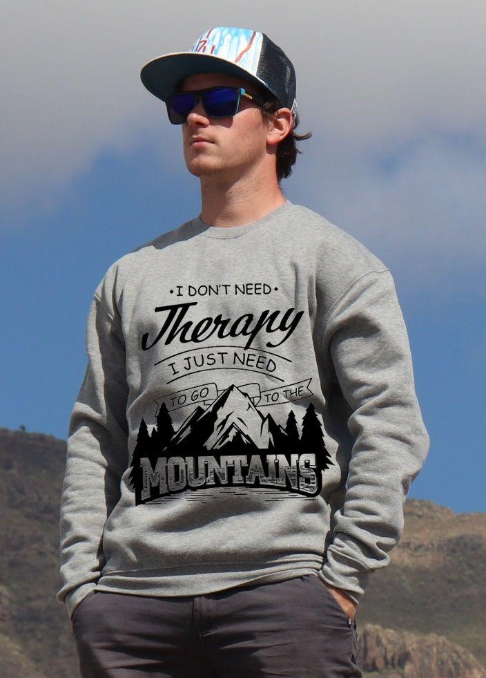 mikina Mountains therapy unisex grey hoodie