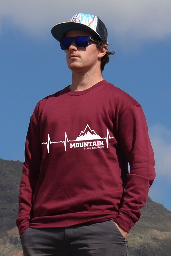 mikina Mountain is my heartbeat unisex burgundy hoodie