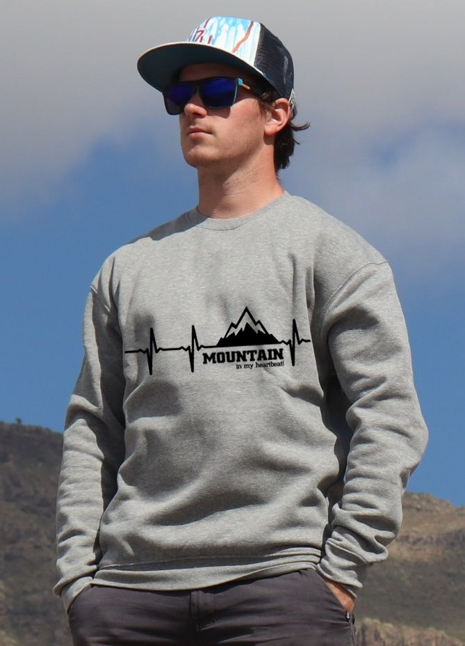 mikina Mountain is my heartbeat unisex grey hoodie