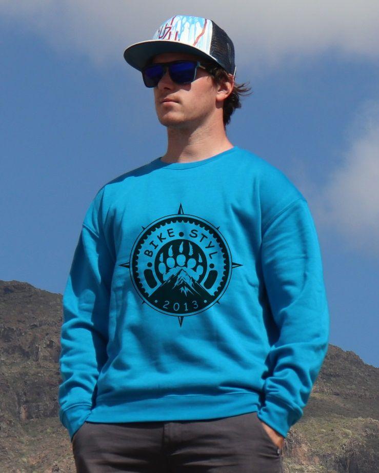mikina Bikestyl unisex blue hoodie