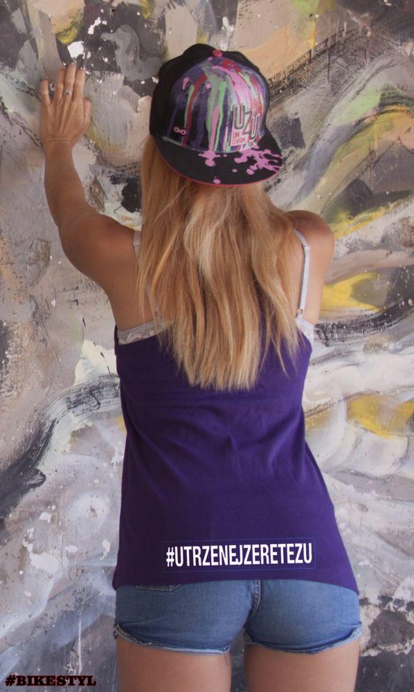 Utrženej ze řetězu dámské tílko purple top