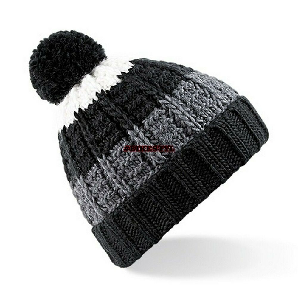 zimní čepice pletený kulich black-grey