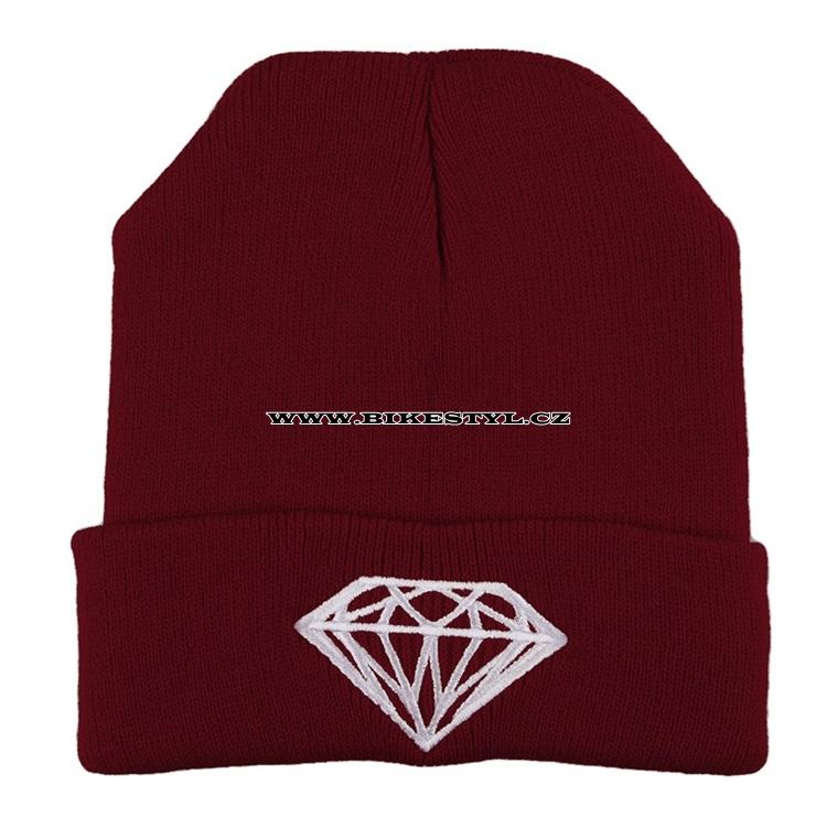 Diamond zimní pletena čepice vínová