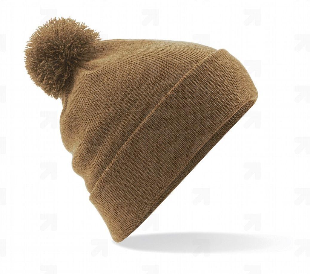 UZU zimní pletená čepice s bambulí caramel