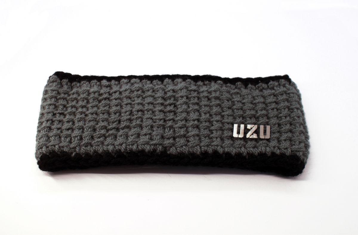 Dámská ručně pletená originální čelenka UZU grey