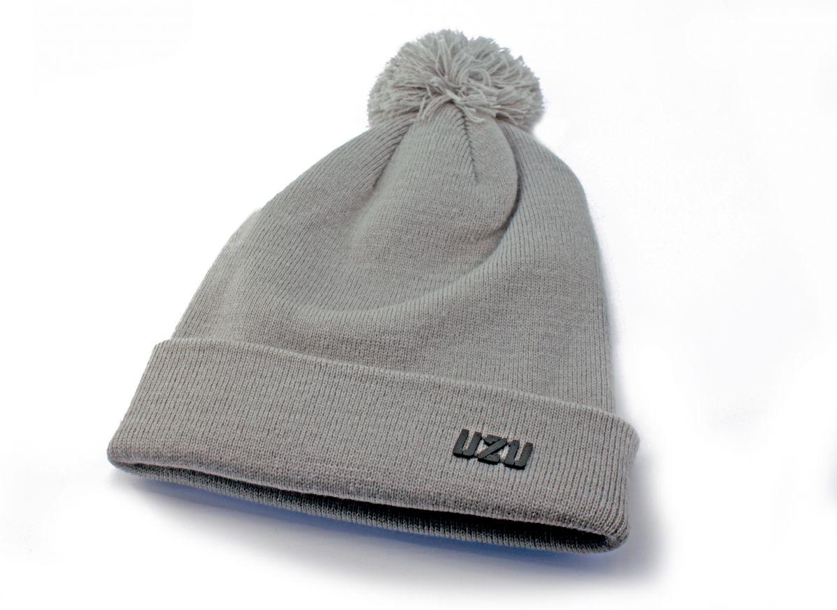 UZU zimní pletená čepice s bambulí grey