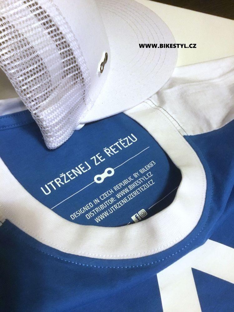 Tričko a kšiltovka UZU combo white-blue T-shirt&snapback