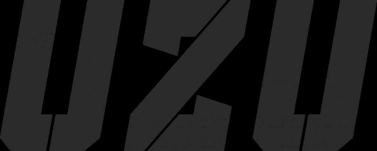 Nálepka UZU logo bílá 6x3