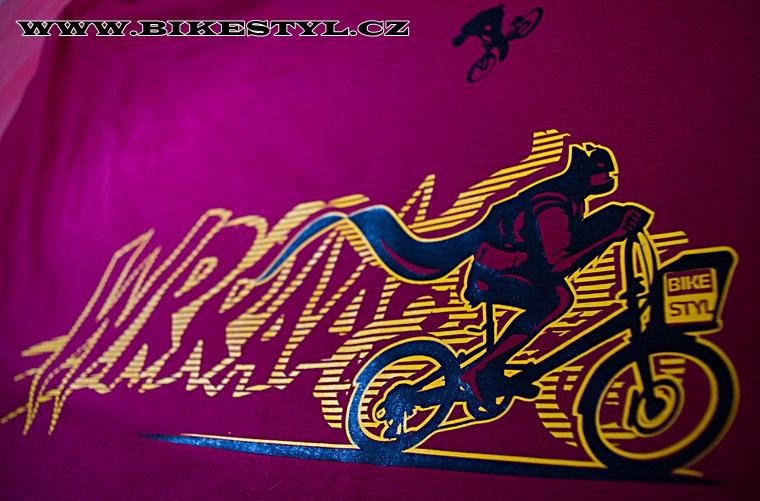 Triko Bikestyl Batman vínové