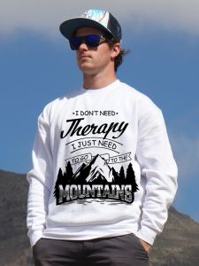 mikina Mountains therapy unisex white hoodie