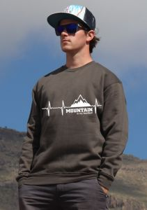 mikina Mountain is my heartbeat unisex dark-grey hoodie