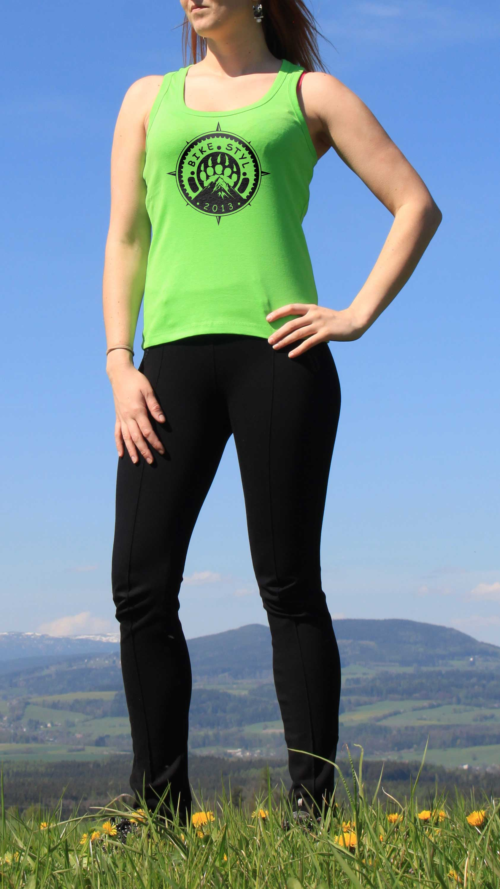 ladies green top bike