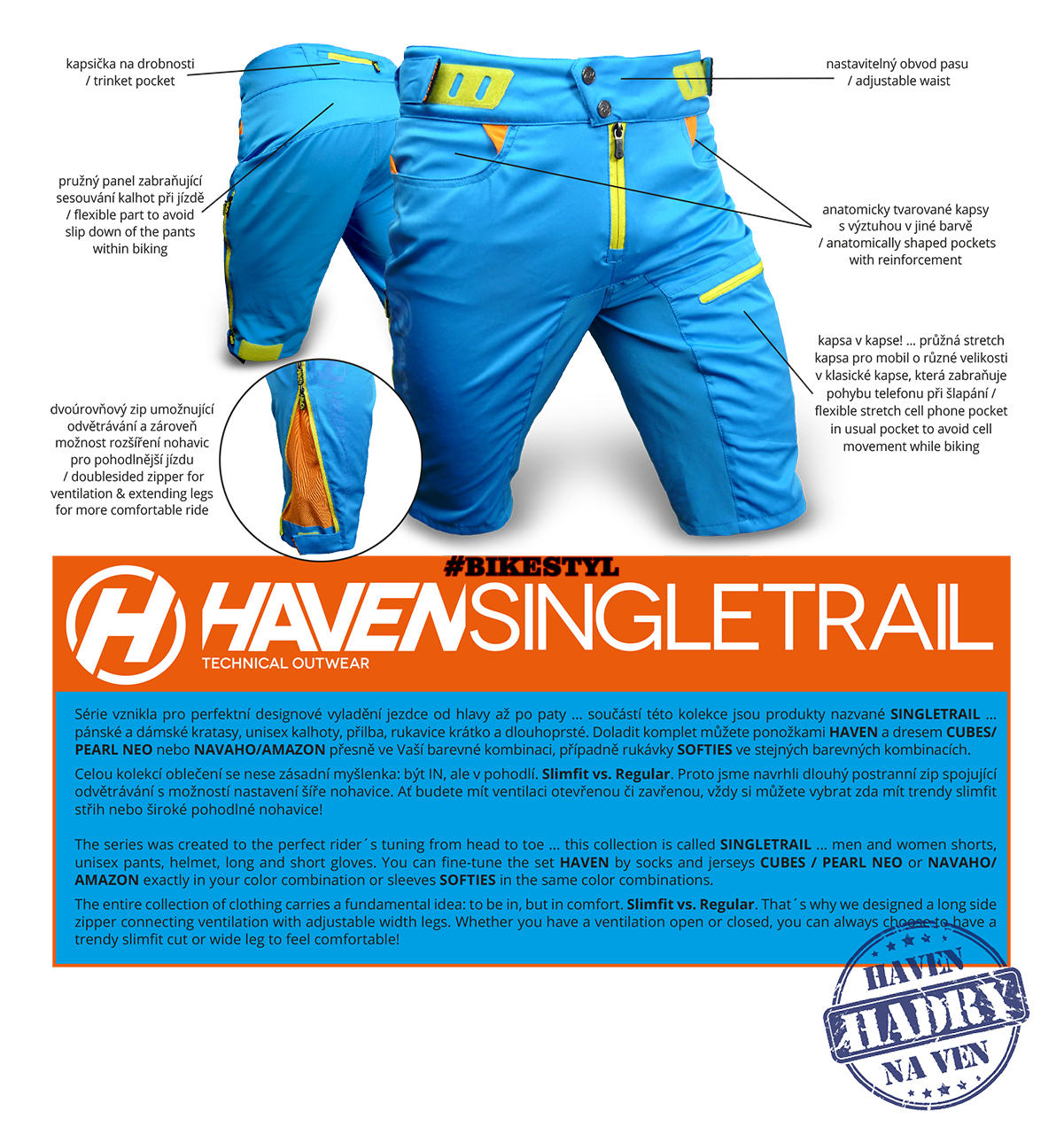 Kraťasy Haven Singletail návod bike shorts