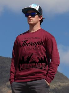 mikina Mountains therapy unisex burgundy hoodie