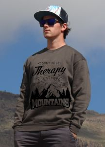 mikina Mountains therapy unisex dark grey hoodie