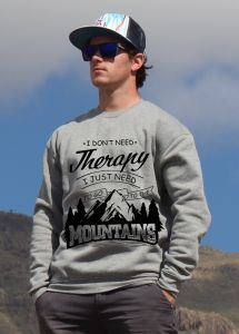 mikina Mountains therapy unisex grey hoodie