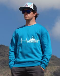 mikina Mountain is my heartbeat unisex blue hoodie
