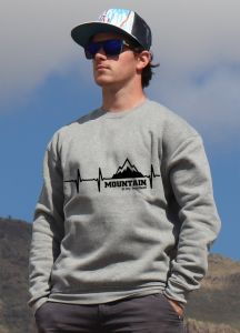 mikina Mountain is my heartbeat unisex grey hoodie