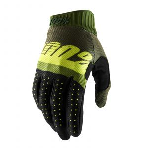 RIDEFIT 100% GLOVE ARMY GREEN/ FLUO LIME/FATIGUE
