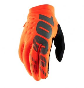 100% rukavice BRISKER GLOVES FLUO ORANGE/BLACK YOUTH