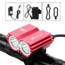 Lampa XM-L T6 LED 5000Lm 2X Cree T6 diody cyklo světlo red